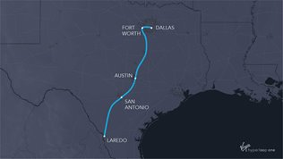 Map of potential hyperloop in Texas
