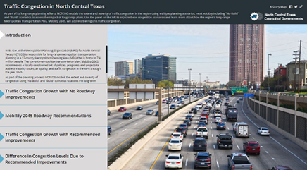 This picture is an interactive link that describes the traffic congestion in North Central Texas with and without the roadway recommendations that Mobility 2045 provides.