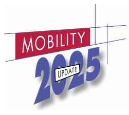 The logo for Mobility 2025 -2001 Update