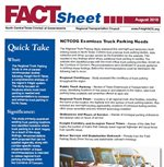 This is a small graphic capture of the front page of the Truck Parking Study Fact Sheet