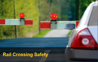 Rail Crossing Safety Image of a Car at Rail Crossing Bar