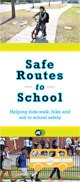 Safe Routes to School logo with pictures of kids walking and riding a bike.
