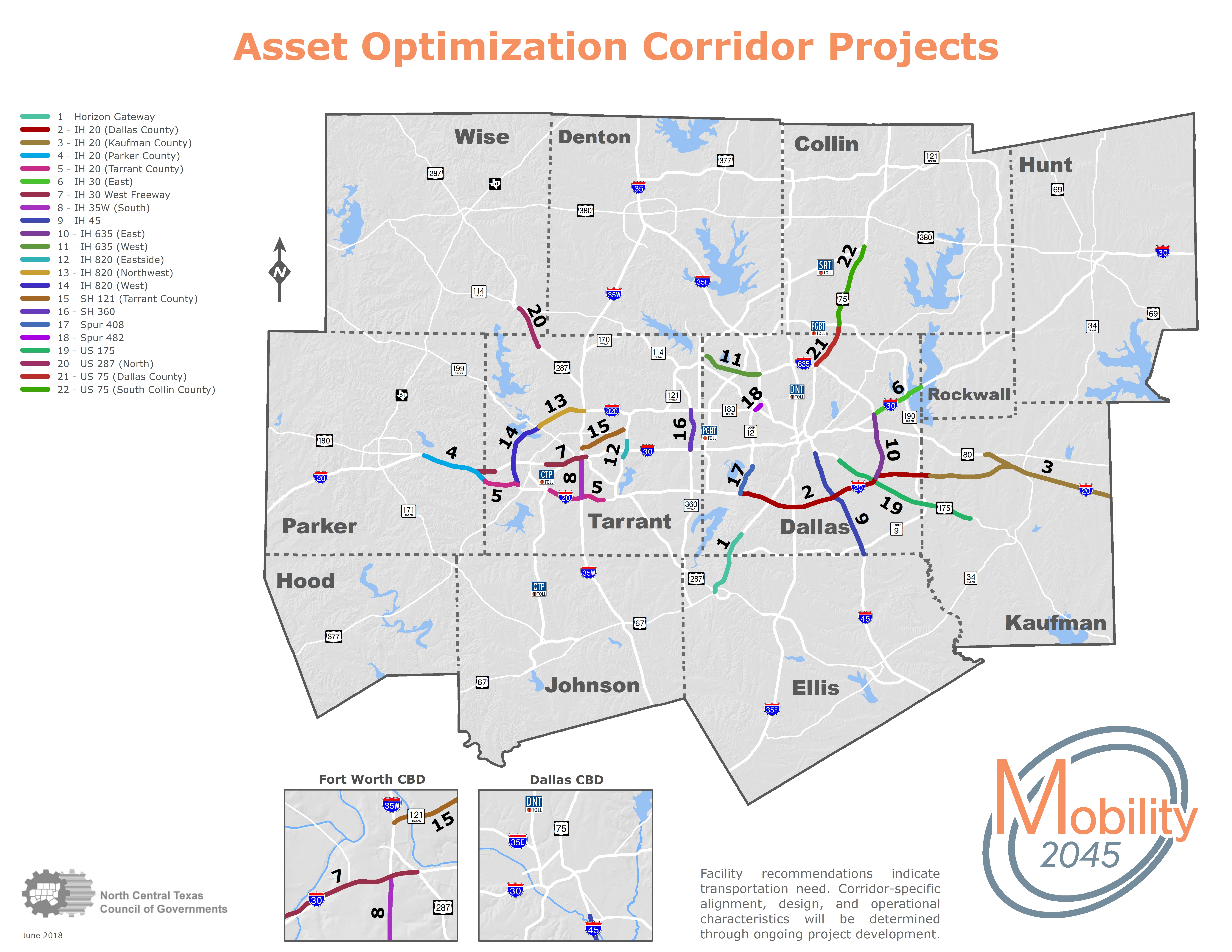 This map shows the asset optimization corridor projects and includes a table of content with the roads that will be affected by Mobility 2045
