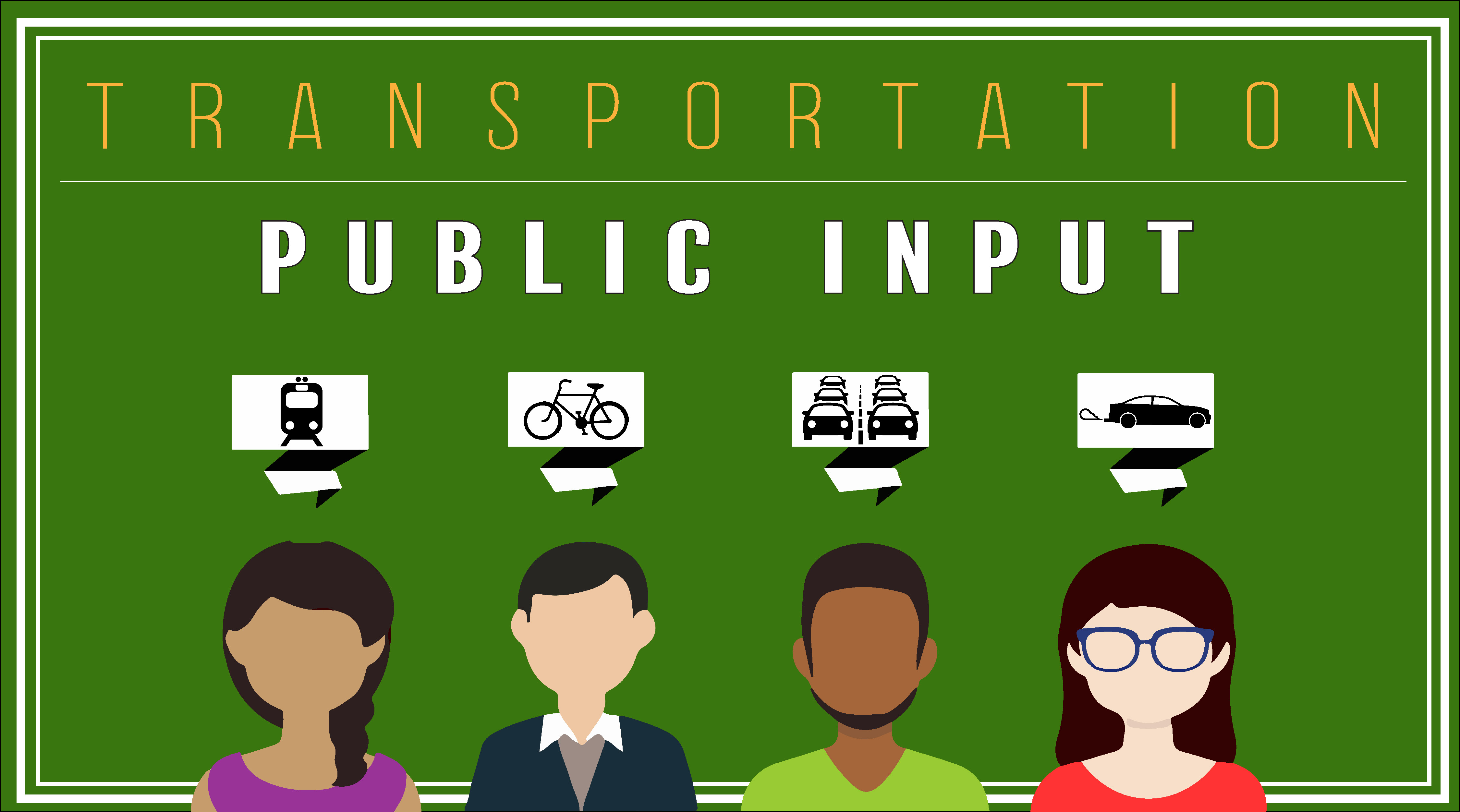A transportation and public input logo with four links to transit planning, bicycle/ pedistrian mode of travel, metropolitan transportation plan and air quality